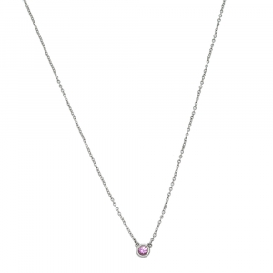 Tiffany & Co. Elsa Peretti Pink Sapphire Silver Necklace