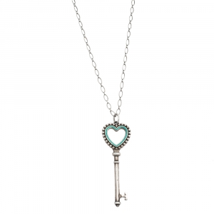 Tiffany & Co. Tiffany Keys Enamel Beaded Heart Key Silver Pendant Necklace