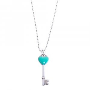 Tiffany & Co.Tiffany Keys Enamel Heart Key Silver Pendant Necklace
