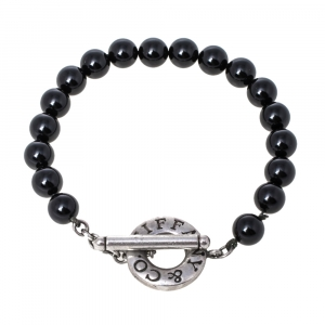 Tiffany & Co. Sterling Silver Onyx Bead Bracelet