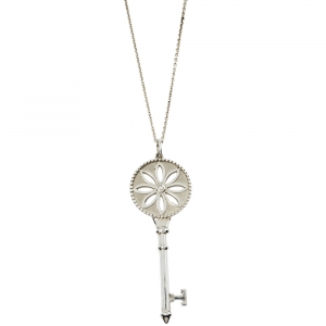 Tiffany & Co. Daisy Key Diamond Silver Long Pendant Necklace
