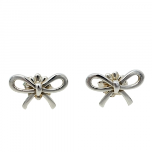 Tiffany & Co. Sterling Silver Bow Stud Earrings