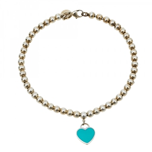 Tiffany & Co. Return to Tiffany Enamel Heart Tag Bead Bracelet