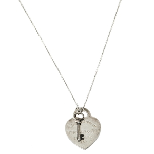 Tiffany & Co. Sterling Silver Heart Tag with Key Pendant Necklace
