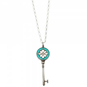 Tiffany & Co. Enamel Silver Knot Key Pendant Necklace