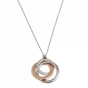 Tiffany & Co. Tiffany 1837 Interlocking Circles Rubedo and Silver Pendant Necklace