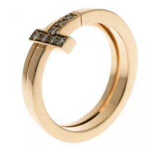 Tiffany & Co. Tiffany T Wrap Diamonds &18k Rose Gold Ring Size 54.5
