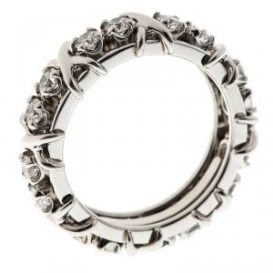 Tiffany & Co. Schlumberger X 16 Diamonds Platinum Band Ring Size 54.5