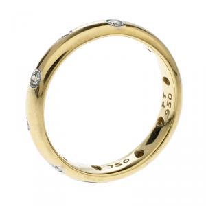 Tiffany & Co. Etoile Diamond Platinum 18k Yellow Gold Band Ring Size 53