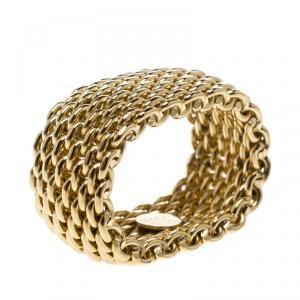 Tiffany & Co. Somerset 18k Yellow Gold Mesh Band Ring Size 53