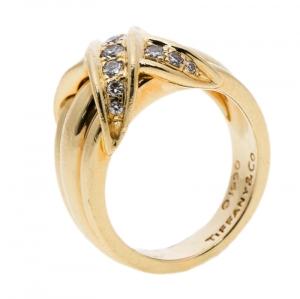 Tiffany & Co. Signature X Kiss Diamond & 18k Yellow Gold Ring Size 53