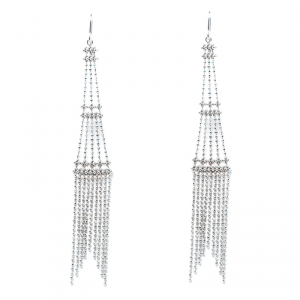 Tiffany & Co. Beaded Fringe Tower 18k White Gold Long Hook Earrings