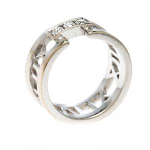 Tiffany & Co. Atlas Diamonds 18k White Gold Open Band Ring Size 54