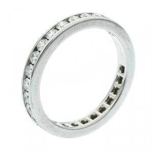 Tiffany & Co. Diamond Channel Set Platinum Eternity Wedding Band Ring Size 54