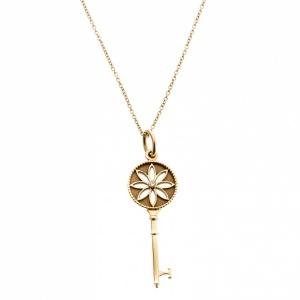 Tiffany & Co. Daisy Key Diamond 18k Yellow Gold Pendant Necklace