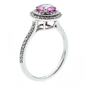 Tiffany & Co. Soleste Pink Sapphire Diamond Platinum Halo Ring Size 54