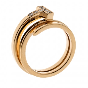 Tiffany & Co. T Square Diamond 18k Rose Gold Wrap Ring Size 53