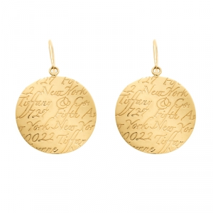 Tiffany & Co. Tiffany Notes Engraved 18k Yellow Gold Round Hook Earrings