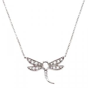 Tiffany & Co. Garden Dragonfly Diamond Platinum Pendant Necklace