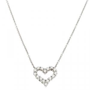 Tiffany & Co. Diamond Heart Platinum Pendant Necklace