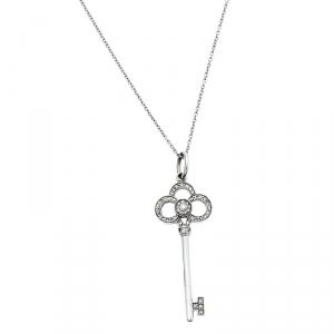 Tiffany & Co. Tiffany Keys Crown Key White Gold and Diamonds Necklace