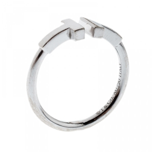 Tiffany & Co. T Wire 18k White Gold Open Ring Size 50