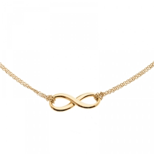 Tiffany & Co. Infinity 18k Yellow Gold Double Chain Pendant Necklace