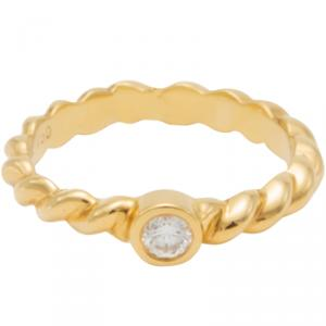 Tiffany & Co. 18K Yellow Gold Twisted Wire Diamond Ring Size 52