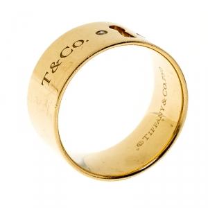 Tiffany & Co. Keyhole Diamond 18k Yellow Gold Band Ring Size 55
