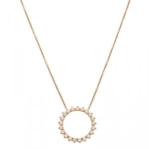 Tiffany & Co. Open Circle Diamond 18k Rose Gold Pendant Necklace