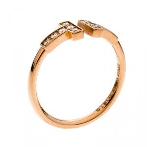 Tiffany & Co. T Square Diamond 18K Rose Gold Open Ring Size 52.5