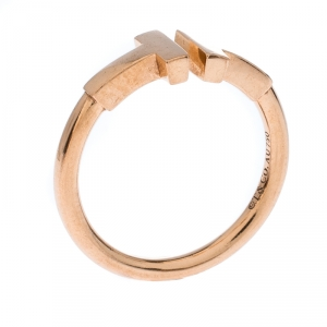 Tiffany & Co. T Wire 18k Rose Gold Open Ring Size 48