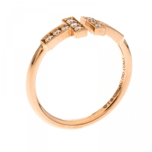 Tiffany & Co. T Wire Diamond 18K Rose Gold Open Ring Size 54