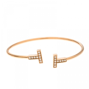 Tiffany & Co. T Wire Diamond 18k Rose Gold Bracelet