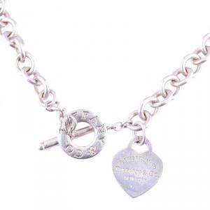 Tiffany & Co. Heart Tag Charm Silver Chain Toggle Necklace