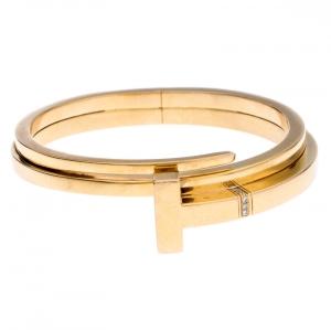 Tiffany & Co. Tiffany T Square Wrap Diamond 18k Rose Gold Cuff Bracelet SM