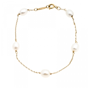 Tiffany & Co. Cultured Pearl 18k Yellow Gold Station Bracelet