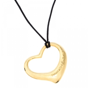 Tiffany & Co. Open Heart 18K Yellow Gold Black Cord Pendant Necklace