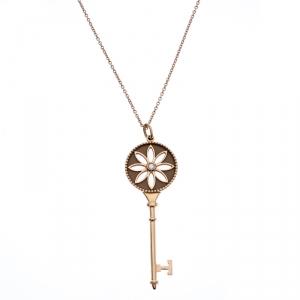 Tiffany & Co. Daisy Key Diamond 18K Rose Gold Long Pendant Necklace
