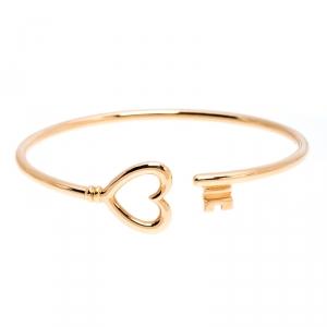 Tiffany & Co. Tiffany Keys Wire Heart 18K Rose Gold Open Bracelet