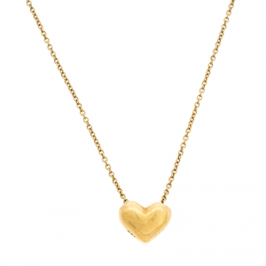 Tiffany & Co. Puffy Heart 18K Yellow Gold Pendant Necklace
