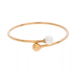 Tiffany & Co. HardWear Cultured Pearl 18K Rose Gold Ball Bypass Bracelet