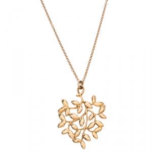 Tiffany & Co. Paloma Picasso Olive Leaf 18K Rose Gold Pendant Necklace