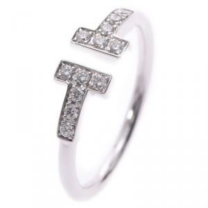 Tiffany & Co. 18K White Gold and Diamond T Wire Ring Size 49