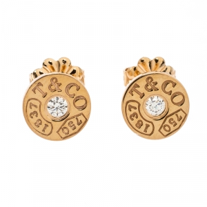 Tiffany & Co.1837 18K Rose Gold and Diamond Circle Stud Earrings