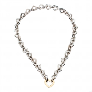 Tiffany & Co. Heart Link 18K Yellow Gold & Silver Necklace