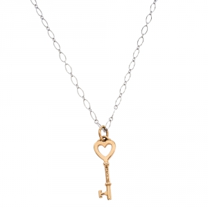 Tiffany & Co. Heart Key 18K Rose Gold Mini Pendant & 18K White Gold Chain Necklace