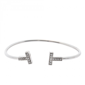 Tiffany & Co. T Wire Diamond 18K White Gold Bracelet