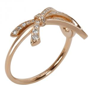 Tiffany & Co. Bow 0.32 CTW Diamond 18K Rose Gold Ring Size 56