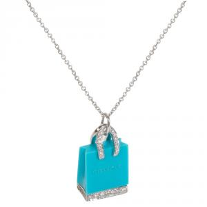 Tiffany & Co. Shopping Bag 1/4 CTW Diamond Platinum Pendant Nekclace